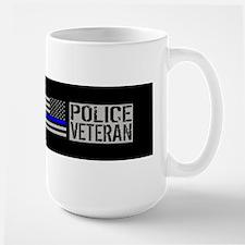 Police: Police Veteran (Black Flag Blue Large Mug