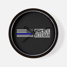 Police: Police Veteran (Black Flag Blue Wall Clock