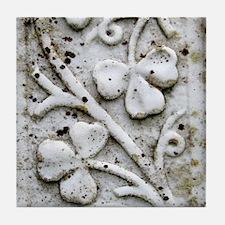 White Shamrocks Tile Coaster