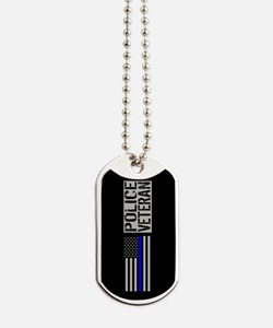 Police: Police Veteran (Black Flag Blue L Dog Tags
