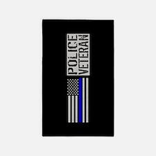 Police: Police Veteran (Black Flag Blue L Area Rug