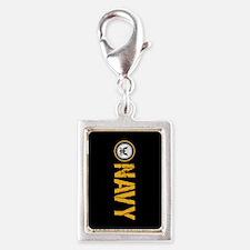 U.S. Navy: Navy (Black) Silver Portrait Charm