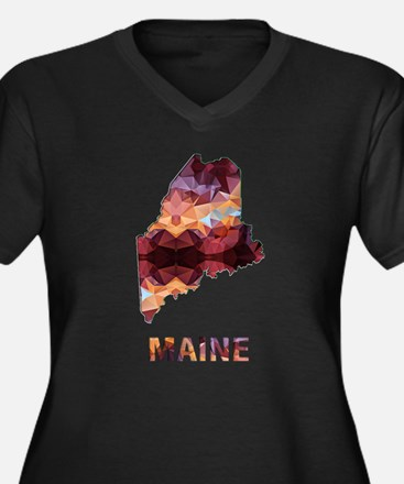 Mosaic Map MAINE Plus Size T-Shirt