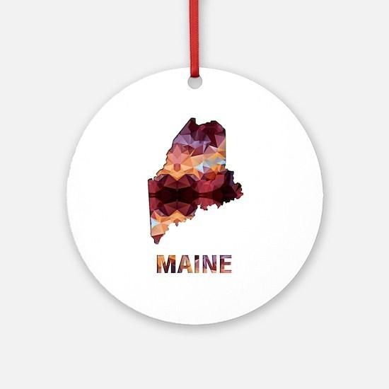Mosaic Map MAINE Round Ornament
