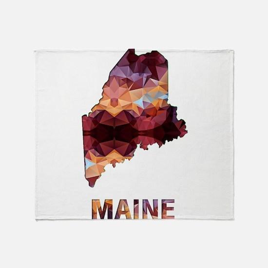 Mosaic Map MAINE Throw Blanket