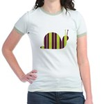 Slow Movin' Retro Snail Jr. Ringer T-shirt