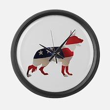 Patriotic German Shepherds Large Wall Clock
