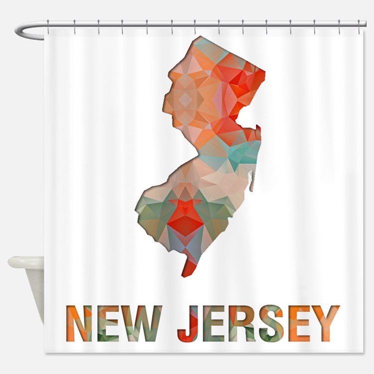 New Jersey Map Shower Curtains New Jersey Map Fabric Shower Curtain Liner