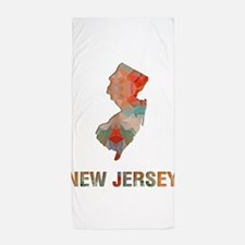 Mosaic Map NEW JERSEY Beach Towel