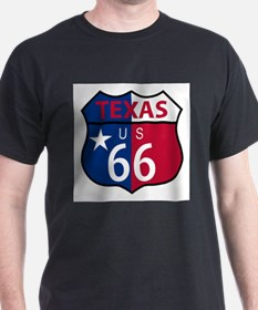 Route 66 Texas sign and flag T-Shirt