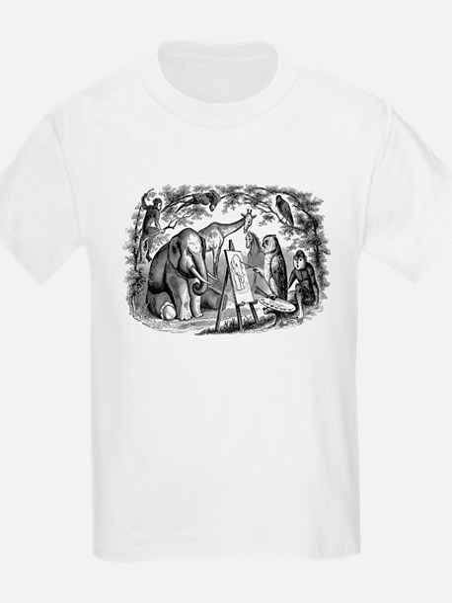 Vintage Owl Elephant Giraffe Monkey Black T-Shirt