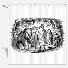 Vintage Owl Elephant Giraffe Monkey Shower Curtain