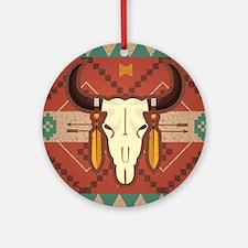 Western Cow Skull Round Ornament