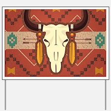 Western Cow Skull Yard Sign