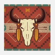 Western Cow Skull Tile Coaster