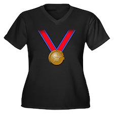 Visualize Winning Gold Women's Plus Size V-Neck Da