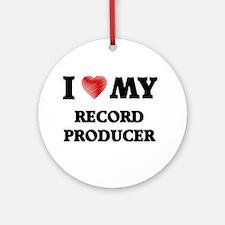 I love my Record Producer Round Ornament