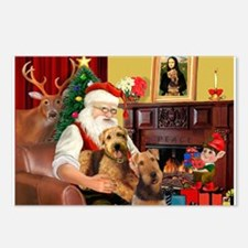 Santa's Two Airedales Postcards (Package of 8)