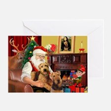 Santa's Two Airedales Greeting Card