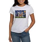 Starry Night Red Husky Pair Women's T-Shirt