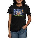 Starry Night Red Husky Pair Women's Dark T-Shirt