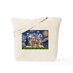 Starry Night Red Husky Pair Tote Bag