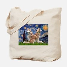 Starry Night Red Husky Pair Tote Bag