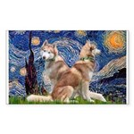 Starry Night Red Husky Pair Sticker (Rectangle)