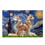 Starry Night Red Husky Pair Postcards (Package of