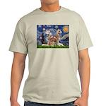 Starry Night Red Husky Pair Light T-Shirt