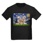 Starry Night Red Husky Pair Kids Dark T-Shirt