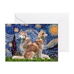 Starry Night Red Husky Pair Greeting Cards (Pk of