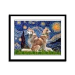 Starry Night Red Husky Pair Framed Panel Print