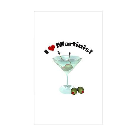I Love Martinis! Rectangle Sticker