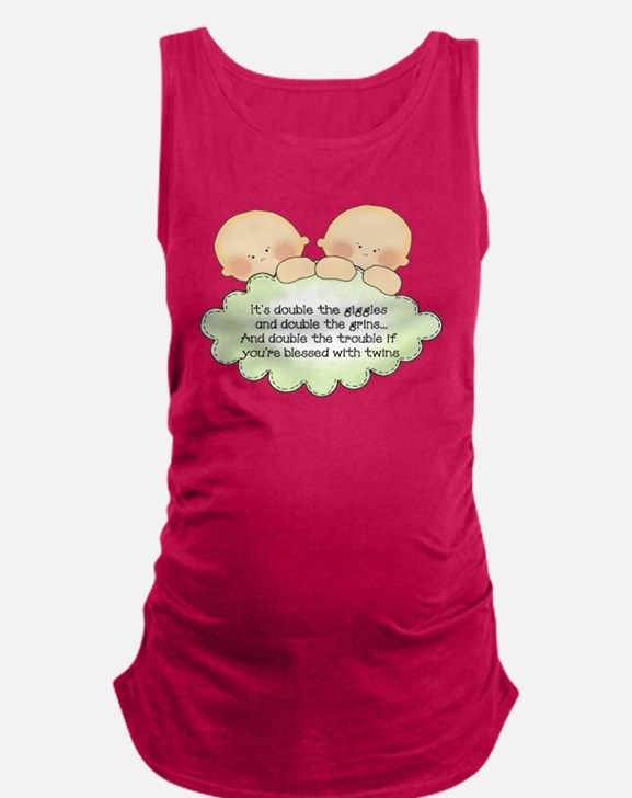 Cute Baby twins Maternity Tank Top