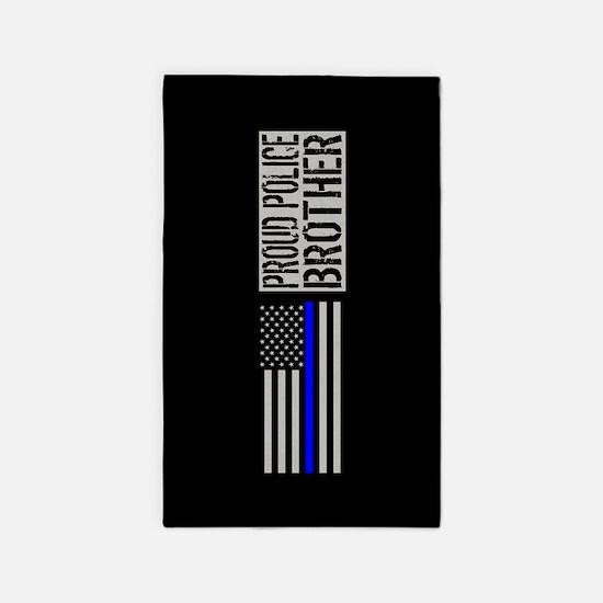 Police: Proud Brother (Black Flag Blue Li Area Rug