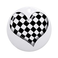 Checkered heart Ornament (Round)