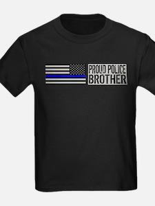 Police: Proud Brother (Black Flag Blue Line) T-Shi