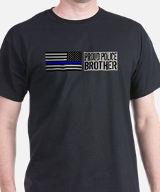 Police: Proud Brother (Black Flag Blue Line) T-Shi