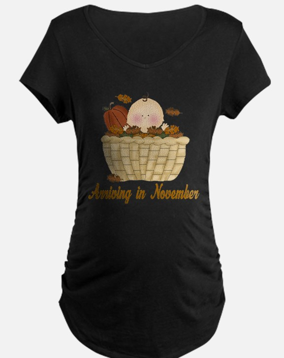Baby Arriving In November Maternity T-Shirt
