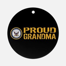 U.S. Navy: Grandma (Black) Round Ornament