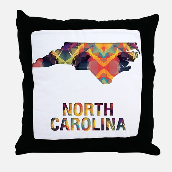 Mosaic Map NORTH CAROLINA Throw Pillow