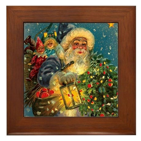 Christmas Santa Claus Art Framed Tile