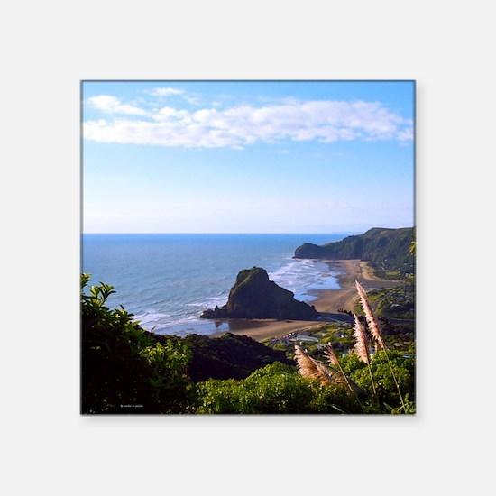 "Piha Surf Beach NZ Square Sticker 3"" x 3"""