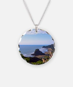 Piha Surf Beach NZ Necklace Circle Charm