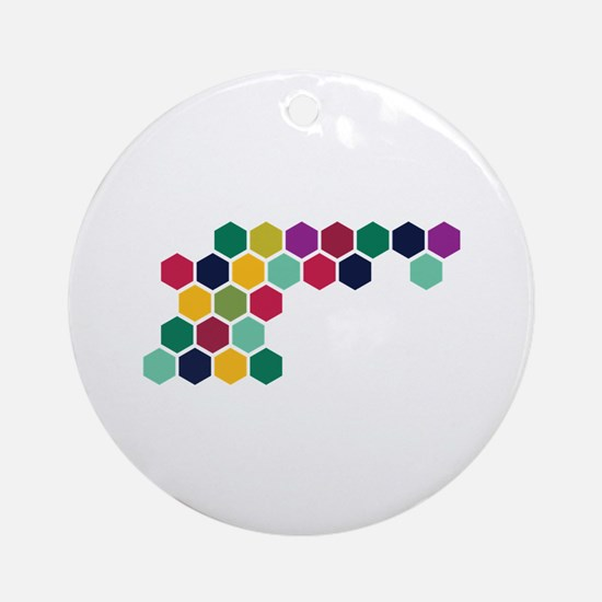 Colorful Honeycombs Round Ornament