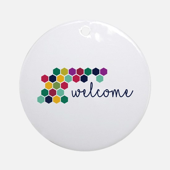 Colorful Welcome Round Ornament