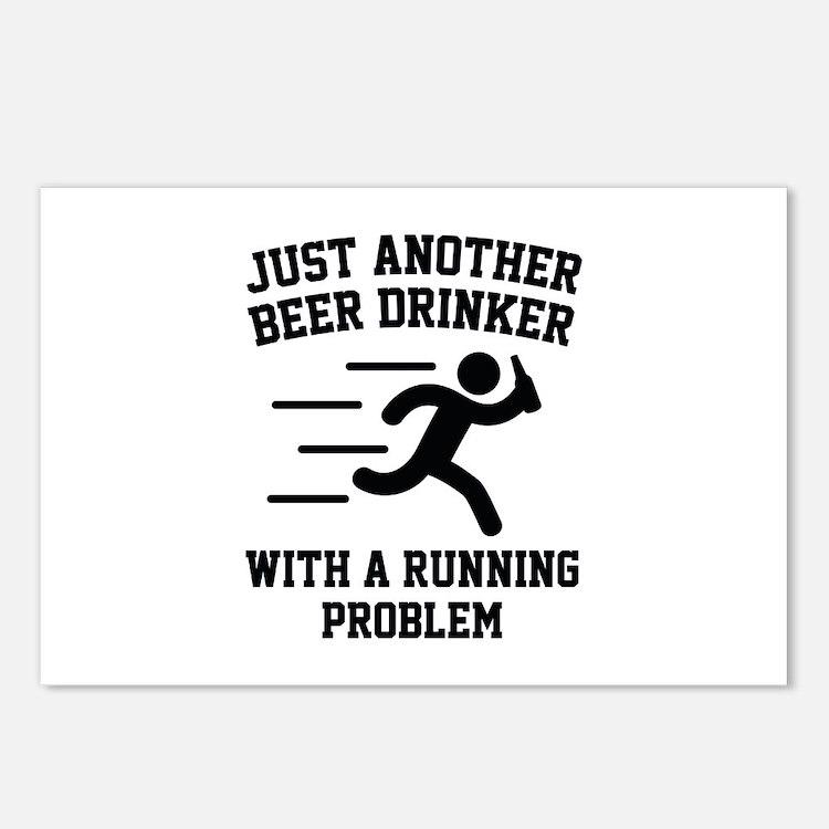 Beer Drinker Running Problem Postcards (Package of