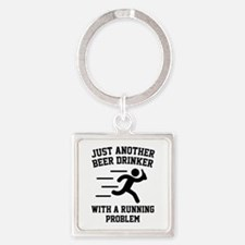 Beer Drinker Running Problem Square Keychain