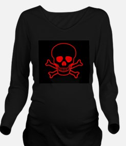 Red Skull and Crossb Long Sleeve Maternity T-Shirt